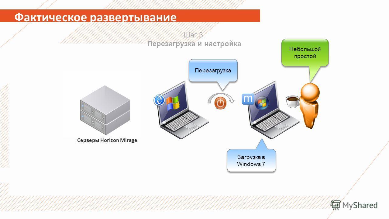 Фактическое развертывание Серверы Horizon Mirage Шаг 3. Перезагрузка и настройка Небольшой простой Перезагрузка Загрузка в Windows 7