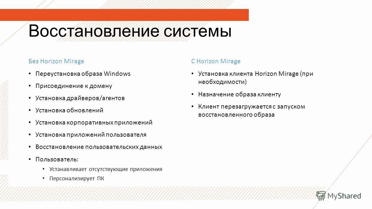 Восстановление системы Без Horizon Mirage Переустановка образа Windows Присоединение к домену Установка драйверов/агентов Установка обновлений Установка корпоративных приложений Установка приложений пользователя Восстановление пользовательских данных