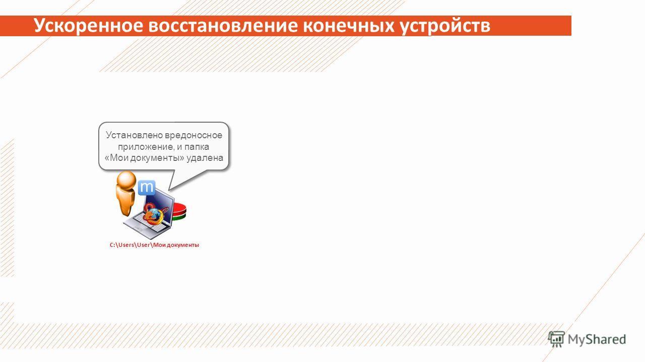 Ускоренное восстановление конечных устройств Установлено вредоносное приложение, и папка «Мои документы» удалена C:\Users\User\Мои документы