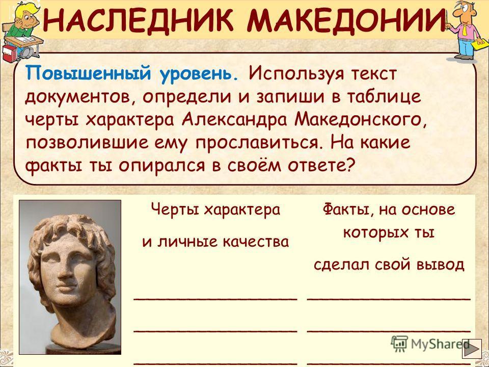 Черты характера и личные качества Факты, на основе которых ты сделал свой вывод ________________ Повышенный уровень. Используя текст документов, определи и запиши в таблице черты характера Александра Македонского, позволившие ему прославиться. На как