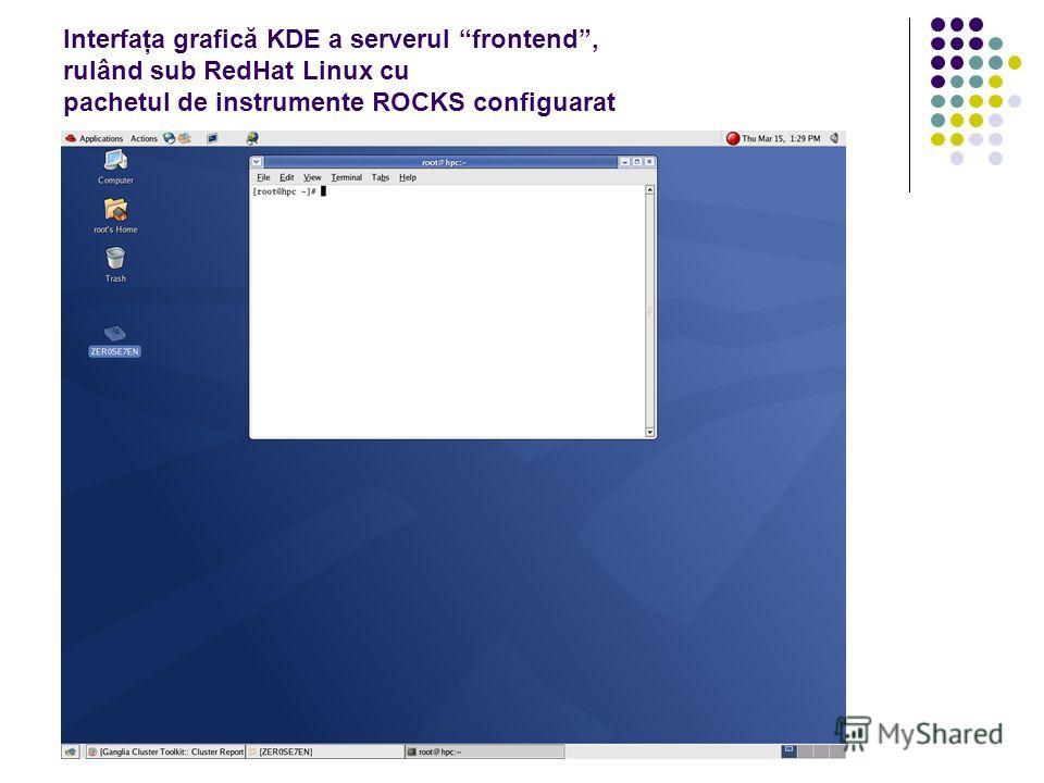 Interfaţa grafică KDE a serverul frontend, rulând sub RedHat Linux cu pachetul de instrumente ROCKS configuarat