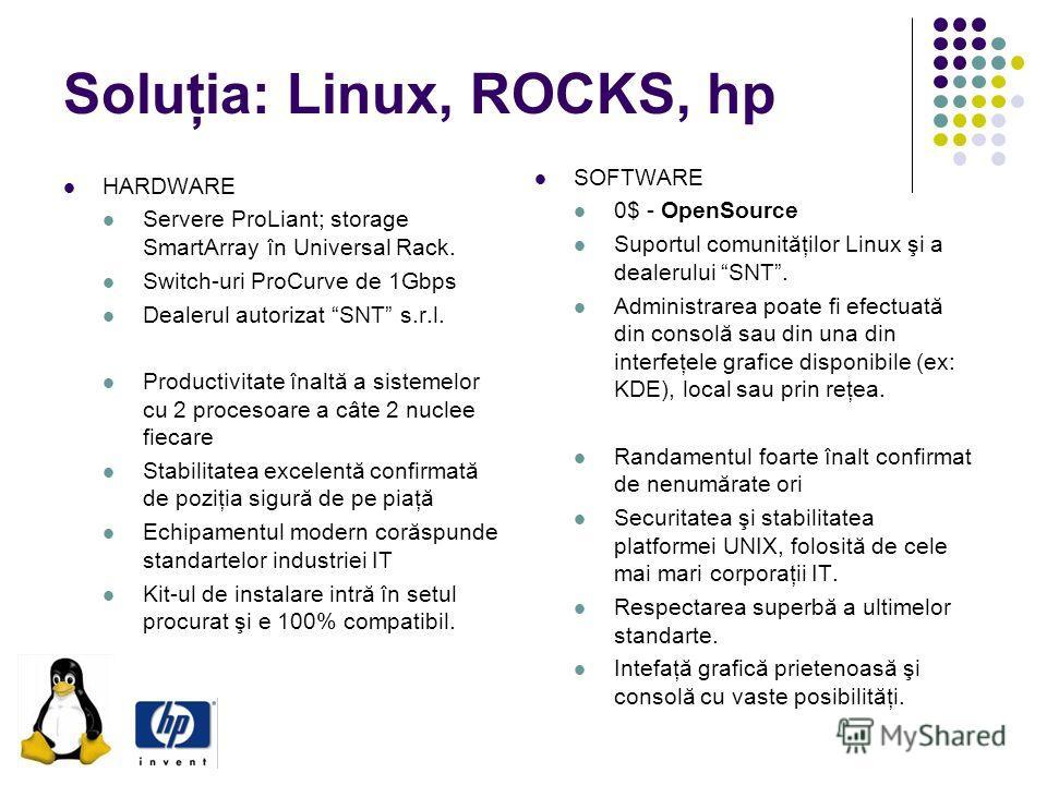 Soluţia: Linux, ROCKS, hp HARDWARE Servere ProLiant; storage SmartArray în Universal Rack. Switch-uri ProCurve de 1Gbps Dealerul autorizat SNT s.r.l. Productivitate înaltă a sistemelor cu 2 procesoare a câte 2 nuclee fiecare Stabilitatea excelentă co