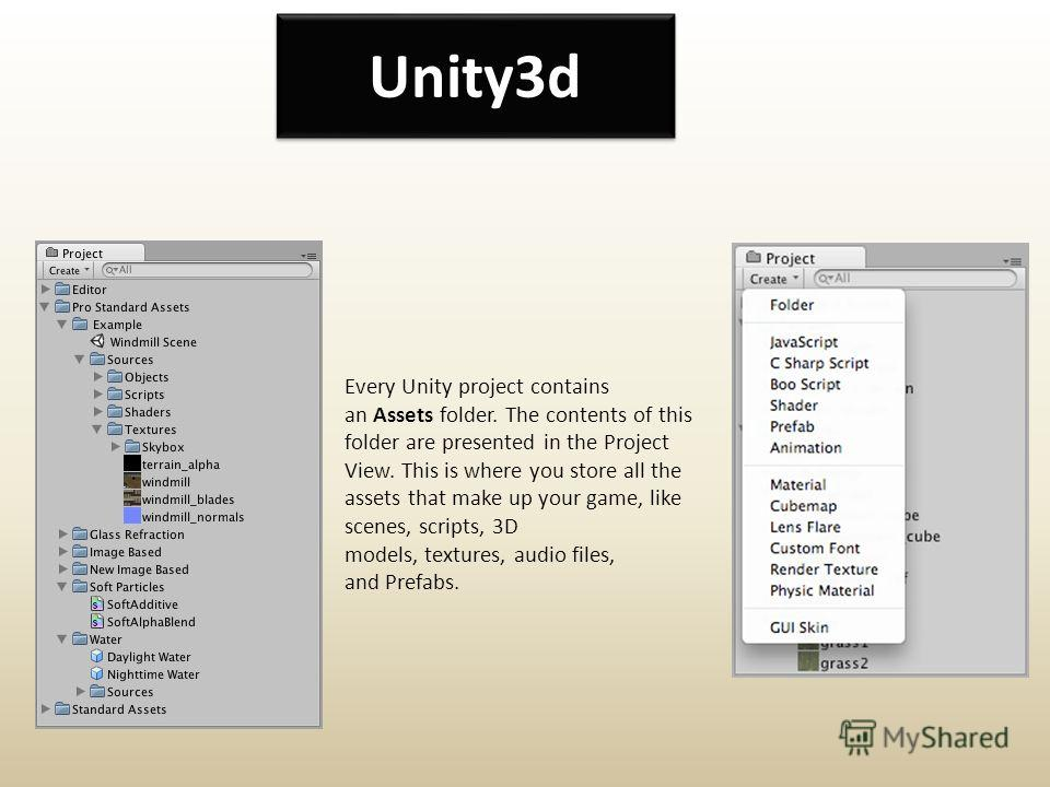 Unity3d Every Unity project contains an Assets folder. The contents of this folder are presented in the Project View. This is where you store all the assets that make up your game, like scenes, scripts, 3D models, textures, audio files, and Prefabs.