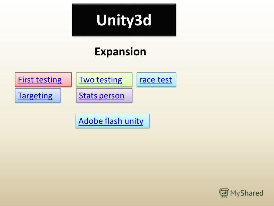 Unity3d Expansion Targeting First testing Two testing Stats person race test Adobe flash unity