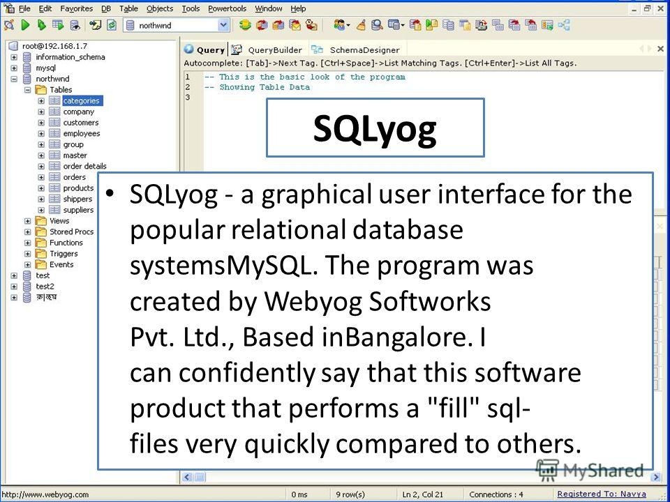 SQLyog SQLyog - a graphical user interface for the popular relational database systemsMySQL. The program was created by Webyog Softworks Pvt. Ltd., Based inBangalore. I can confidently say that this software product that performs a