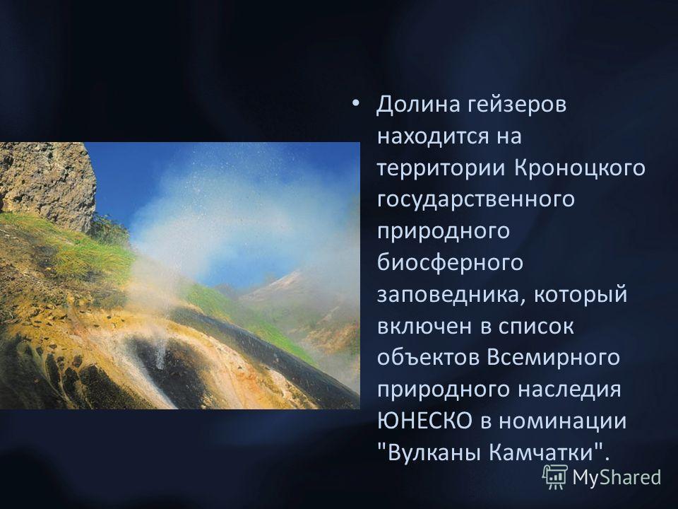 Долина гейзеров находится на территории Кроноцкого государственного природного биосферного заповедника, который включен в список объектов Всемирного природного наследия ЮНЕСКО в номинации Вулканы Камчатки.