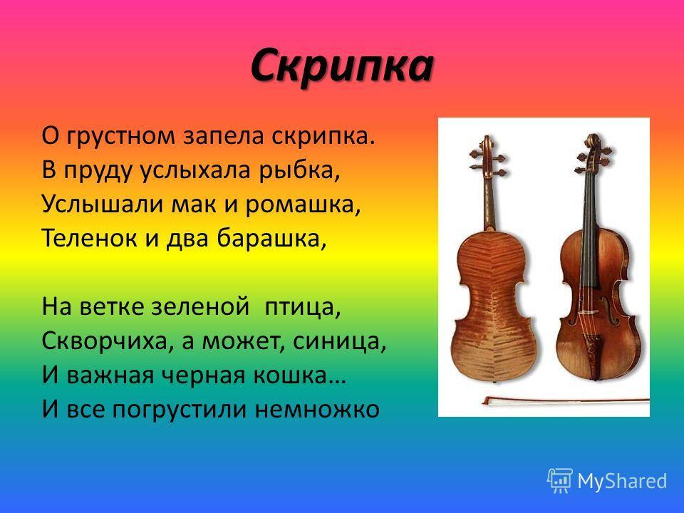 Скрипка О грустном запела скрипка. В пруду услыхала рыбка, Услышали мак и ромашка, Теленок и два барашка, На ветке зеленой птица, Скворчиха, а может, синица, И важная черная кошка… И все погрустили немножко
