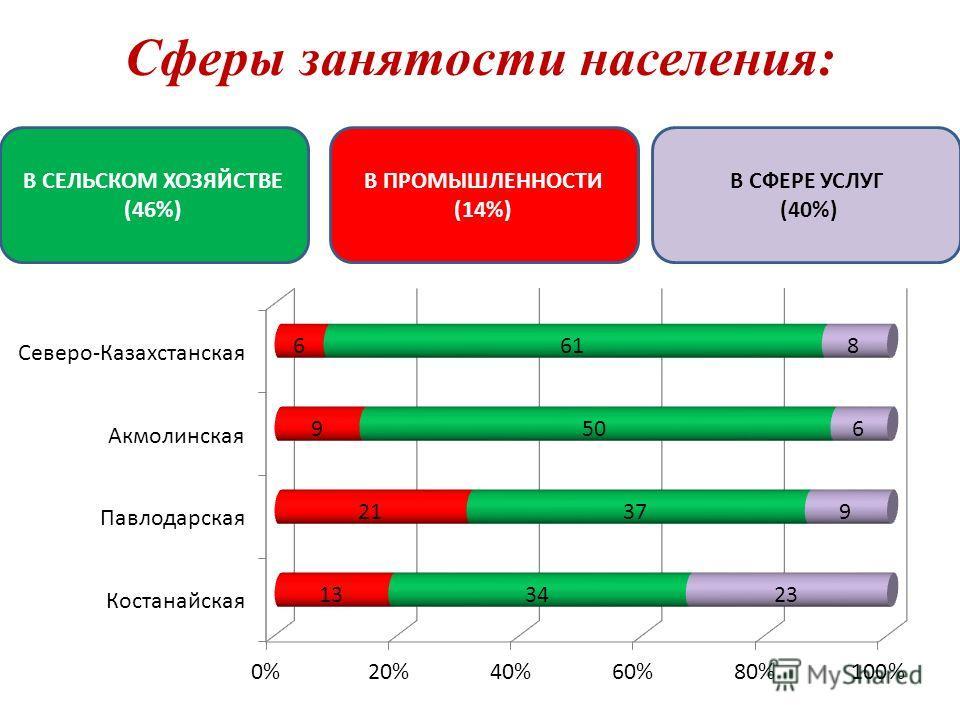 Сферы занятости населения: В СЕЛЬСКОМ ХОЗЯЙСТВЕ (46%) В ПРОМЫШЛЕННОСТИ (14%) В СФЕРЕ УСЛУГ (40%)