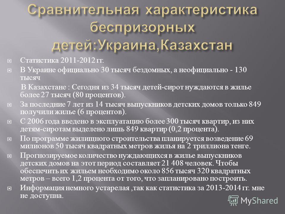 Статистика 2011-2012 гг. В Украине официально 30 тысяч бездомных, а неофициально - 130 тысяч В Казахстане : Сегодня из 34 тысяч детей - сирот нуждаются в жилье более 27 тысяч (80 процентов ). За последние 7 лет из 14 тысяч выпускников детских домов т