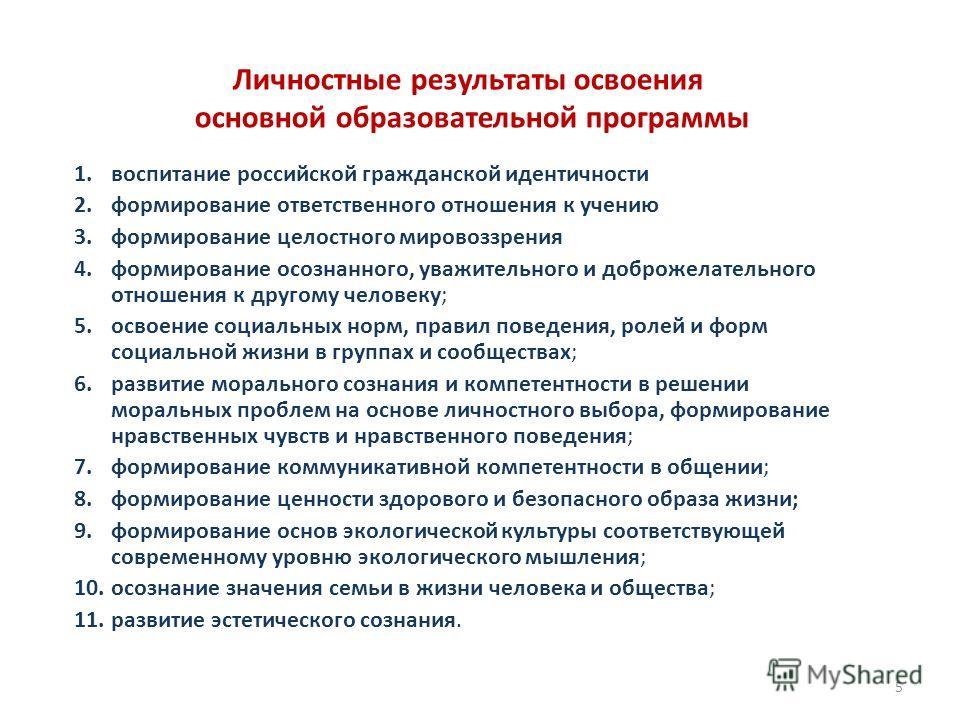 Личностные результаты освоения основной образовательной программы 1. воспитание российской гражданской идентичности 2. формирование ответственного отношения к учению 3. формирование целостного мировоззрения 4. формирование осознанного, уважительного