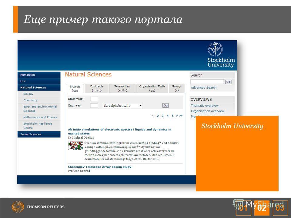 Еще пример такого портала Stockholm University 01 02 03
