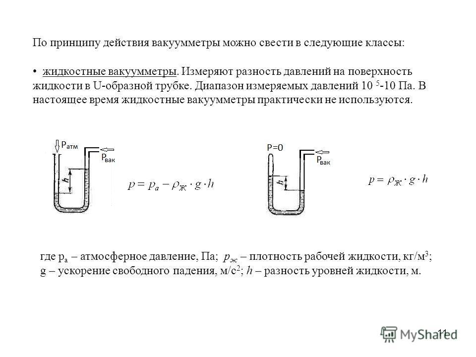 11 По принципу действия вакуумметры можно свести в следующие классы: жидкостные вакуумметры. Измеряют разность давлений на поверхность жидкости в U-образной трубке. Диапазон измеряемых давлений 10 5 -10 Па. В настоящее время жидкостные вакуумметры пр