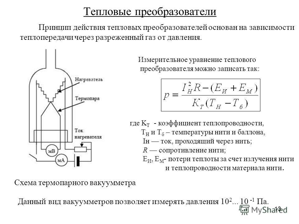 13 Тепловые преобразователи Принцип действия тепловых преобразователей основан на зависимости теплопередачи через разреженный газ от давления. Схема термопарного вакуумметра Измерительное уравнение теплового преобразователя можно записать так: где K