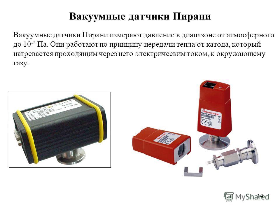 Вакуумные датчики Пирани Вакуумные датчики Пирани измеряют давление в диапазоне от атмосферного до 10 -2 Па. Они работают по принципу передачи тепла от катода, который нагревается проходящим через него электрическим током, к окружающему газу. 14