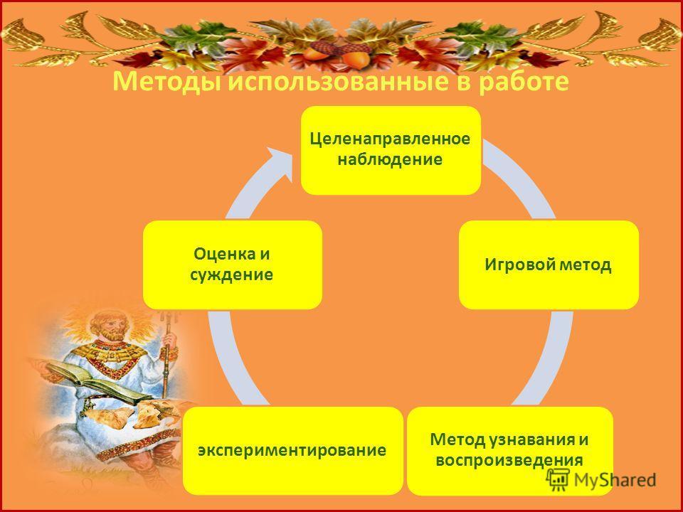 Методы использованные в работе Целенаправленное наблюдение Игровой метод Метод узнавания и воспроизведения экспериментирование Оценка и суждение
