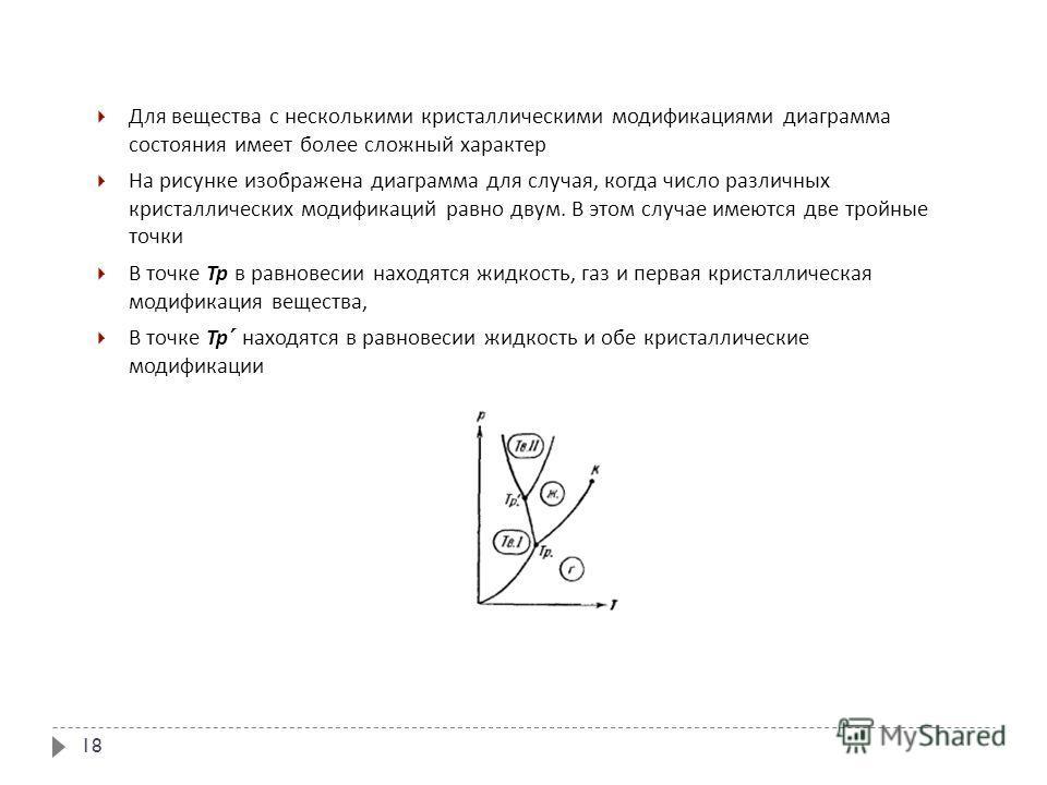 18 Для вещества с несколькими кристаллическими модификациями диаграмма состояния имеет более сложный характер На рисунке изображена диаграмма для случая, когда число различных кристаллических модификаций равно двум. В этом случае имеются две тройные