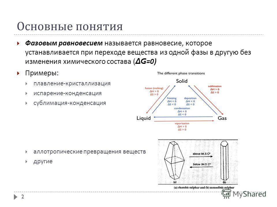 Основные понятия Фазовым равновесием называется равновесие, которое устанавливается при переходе вещества из одной фазы в другую без изменения химического состава ( Δ G=0) Примеры : плавление - кристаллизация испарение - конденсация сублимация - конд