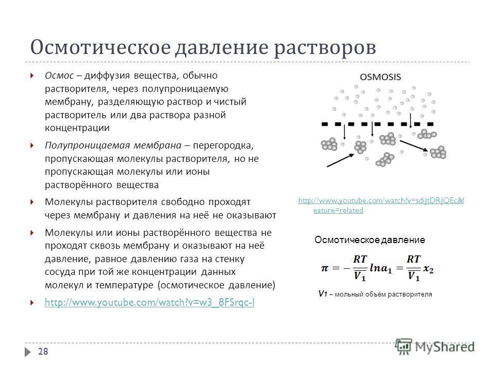 Осмотическое давление растворов Осмос – диффузия вещества, обычно растворителя, через полупроницаемую мембрану, разделяющую раствор и чистый растворитель или два раствора разной концентрации Полупроницаемая мембрана – перегородка, пропускающая молеку