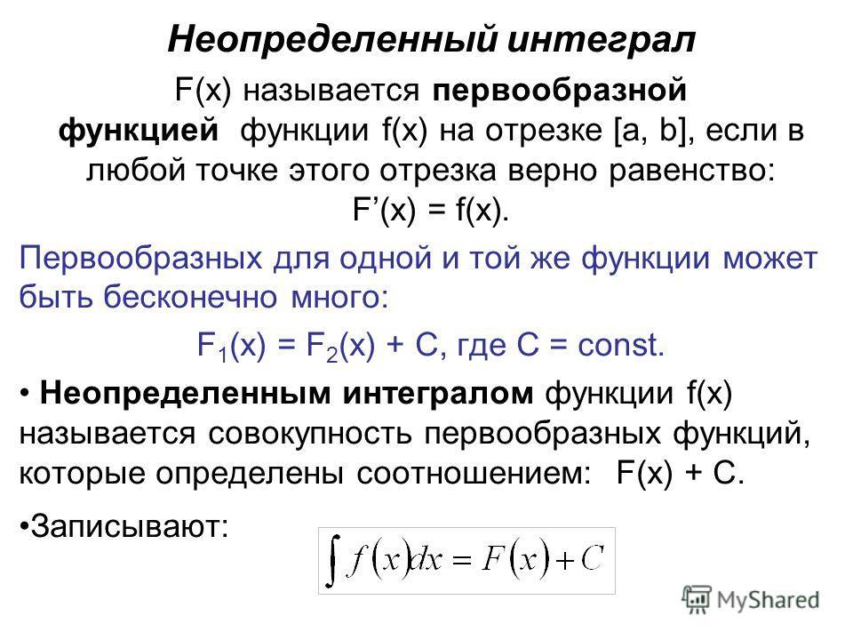 Неопределенный интеграл F(x) называется первообразной функцией функции f(x) на отрезке [a, b], если в любой точке этого отрезка верно равенство: F(x) = f(x). Первообразных для одной и той же функции может быть бесконечно много: F 1 (x) = F 2 (x) + C,