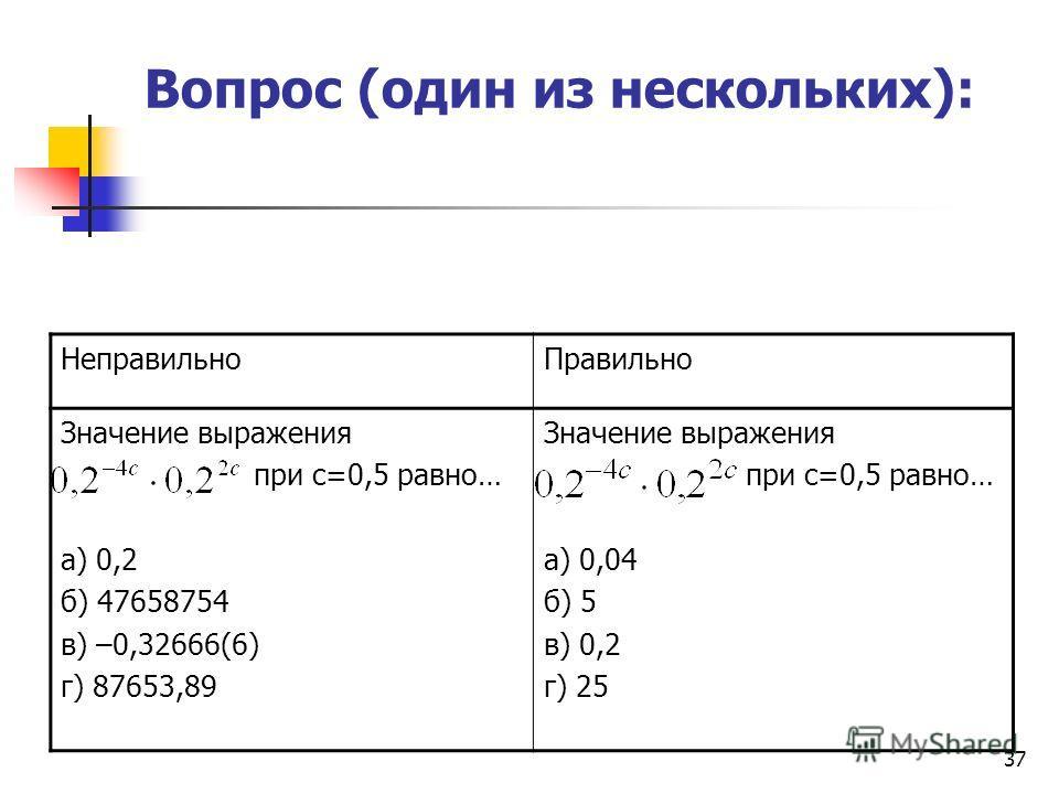 37 Вопрос (один из нескольких): Неправильно Правильно Значение выражения при с=0,5 равно… а) 0,2 б) 47658754 в) –0,32666(6) г) 87653,89 Значение выражения при с=0,5 равно… а) 0,04 б) 5 в) 0,2 г) 25