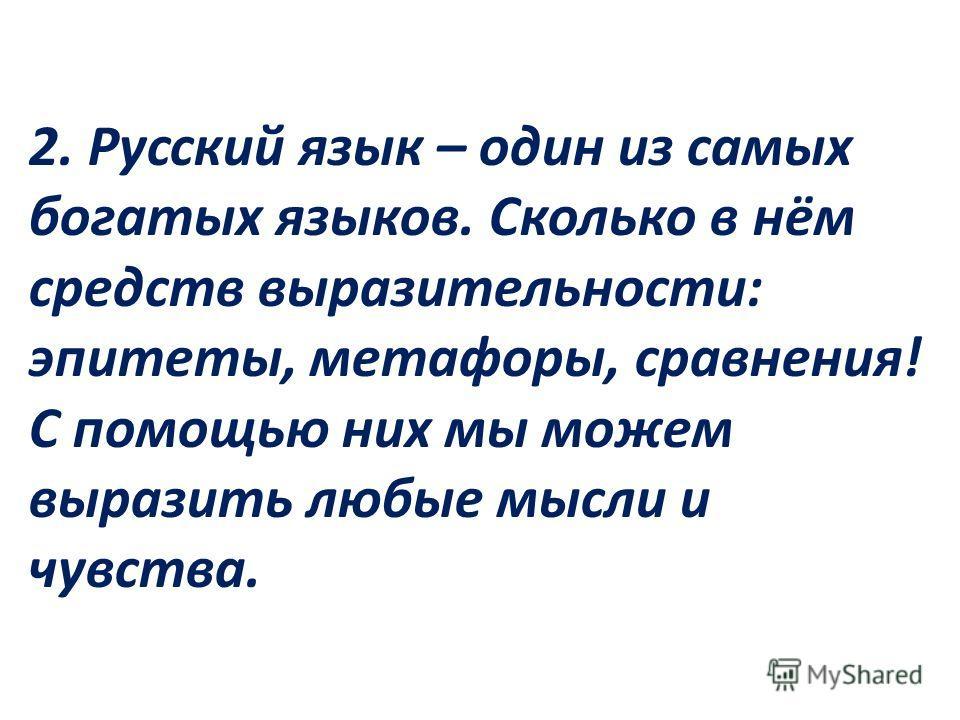 2. Русский язык – один из самых богатых языков. Сколько в нём средств выразительности: эпитеты, метафоры, сравнения! С помощью них мы можем выразить любые мысли и чувства.
