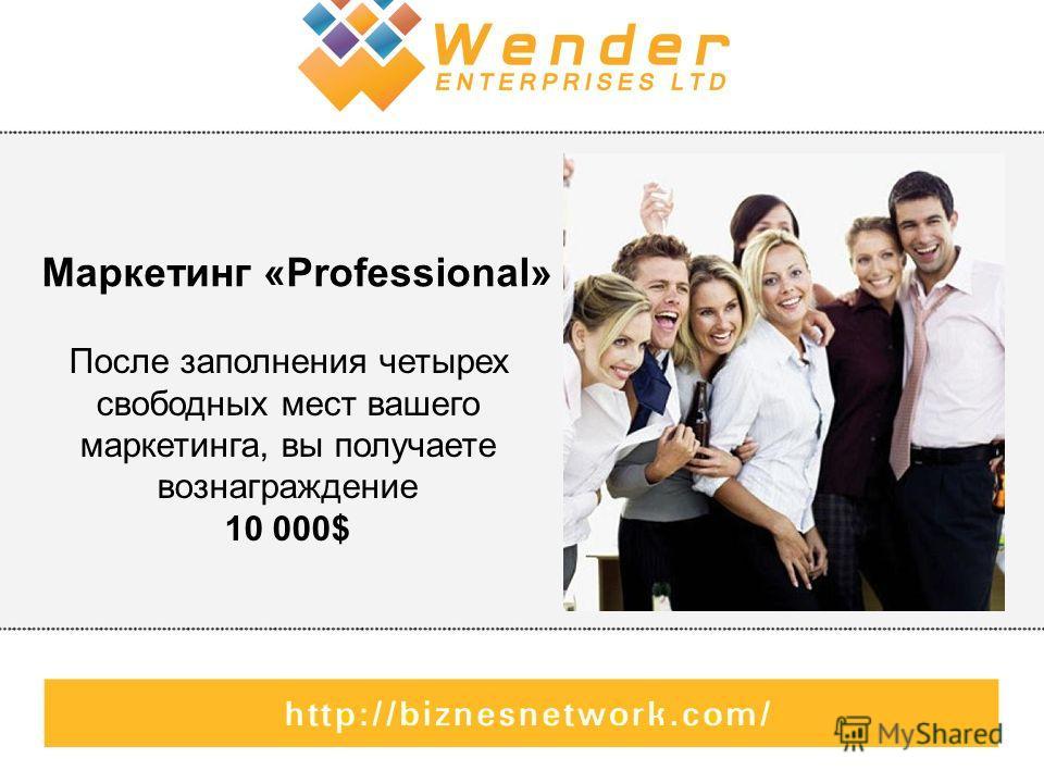 Маркетинг «Professional» После заполнения четырех свободных мест вашего маркетинга, вы получаете вознаграждение 10 000$