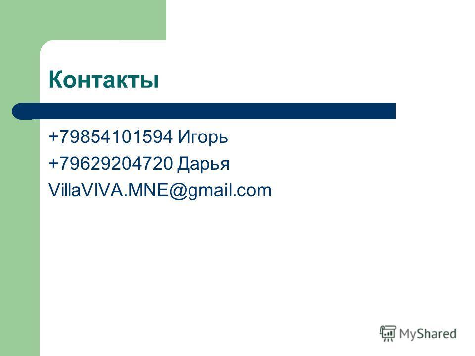 Контакты +79854101594 Игорь +79629204720 Дарья VillaVIVA.MNE@gmail.com