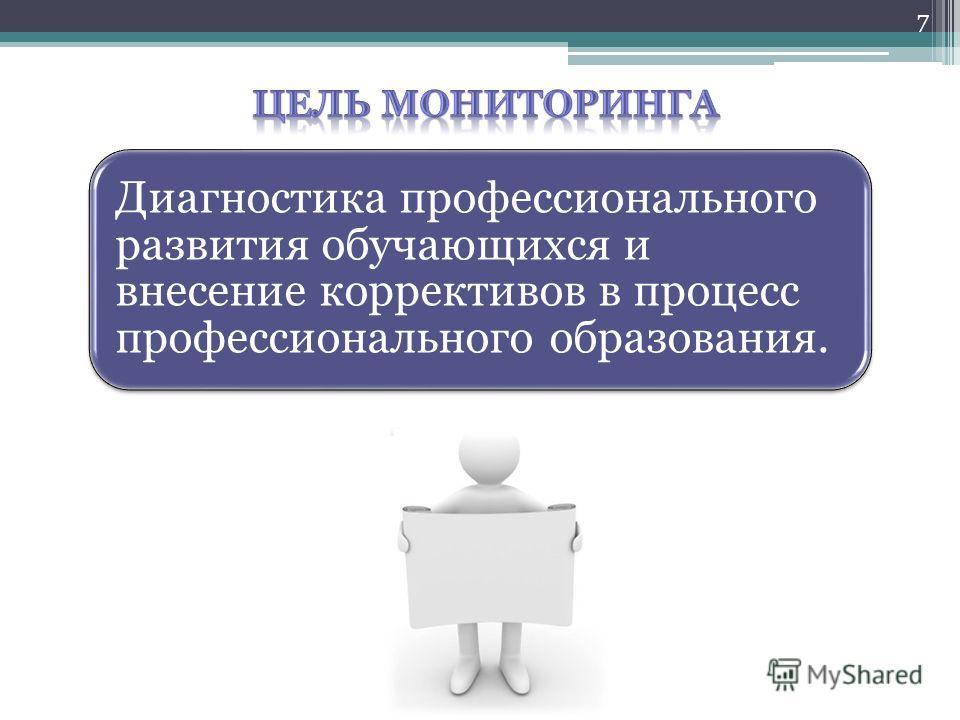 Диагностика профессионального развития обучающихся и внесение коррективов в процесс профессионального образования. 7