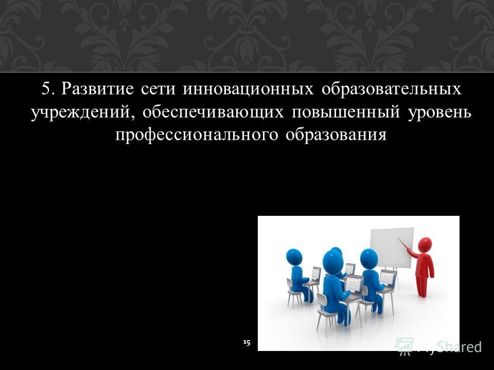 5. Развитие сети инновационных образовательных учреждений, обеспечивающих повышенный уровень профессионального образования 15