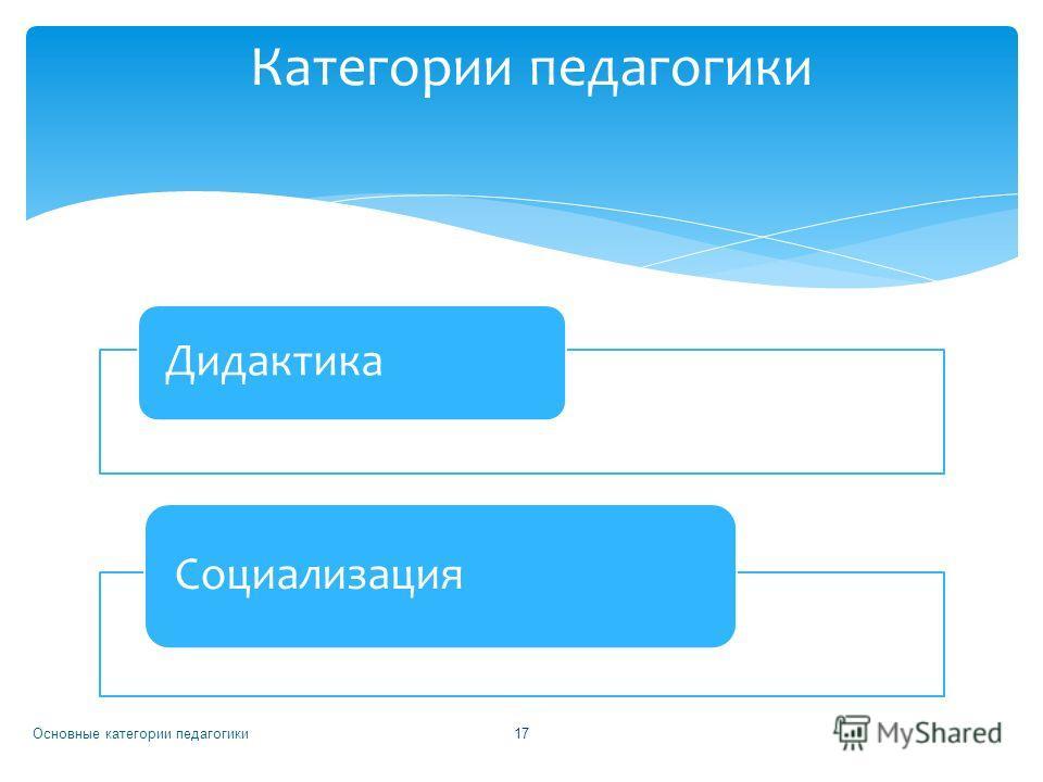 Дидактика Социализация Основные категории педагогики 17 Категории педагогики