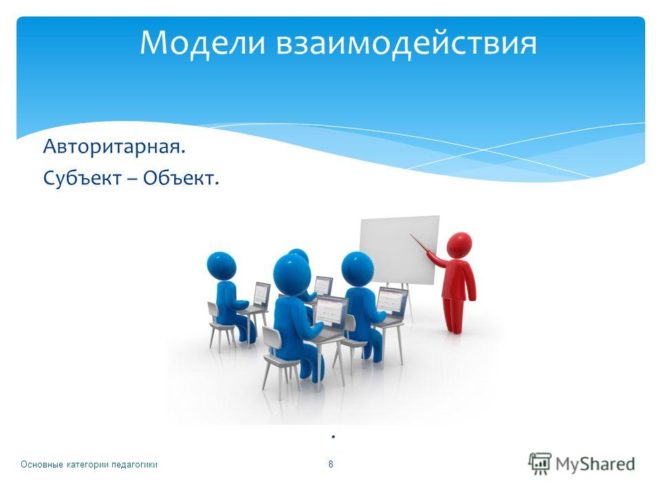 Авторитарная. Субъект – Объект.. Основные категории педагогики 8 Модели взаимодействия