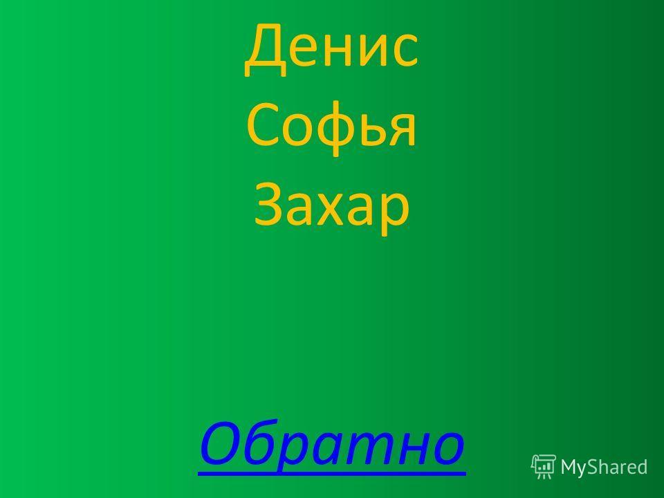 Денис Софья Захар Обратно
