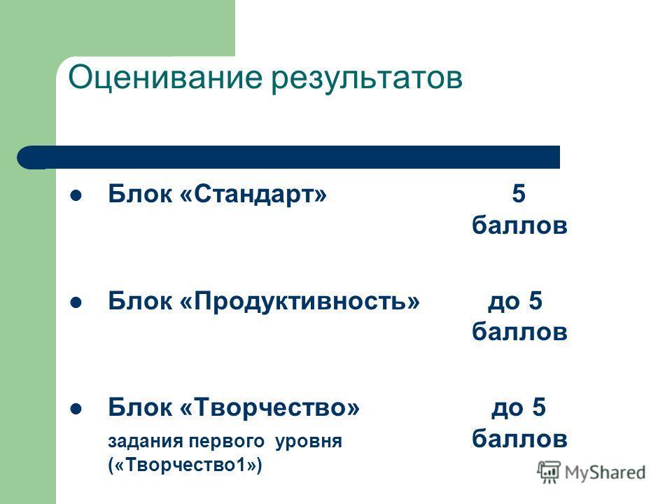 Оценивание результатов Блок «Стандарт» 5 баллов Блок «Продуктивность» до 5 баллов Блок «Творчество» до 5 задания первого уровня баллов («Творчество 1»)