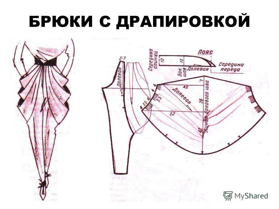 БРЮКИ С ДРАПИРОВКОЙ