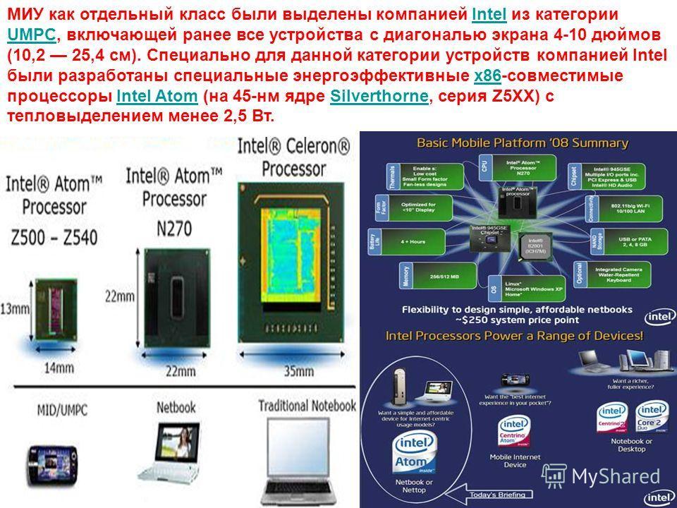 МИУ как отдельный класс были выделены компанией Intel из категории UMPC, включающей ранее все устройства с диагональю экрана 4-10 дюймов (10,2 25,4 см). Специально для данной категории устройств компанией Intel были разработаны специальные энергоэффе