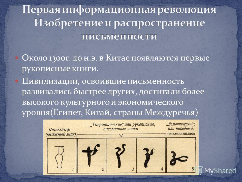 Около 1300 г. до н.э. в Китае появляются первые рукописные книги. Цивилизации, освоившие письменность развивались быстрее других, достигали более высокого культурного и экономического уровня(Египет, Китай, страны Междуречья)