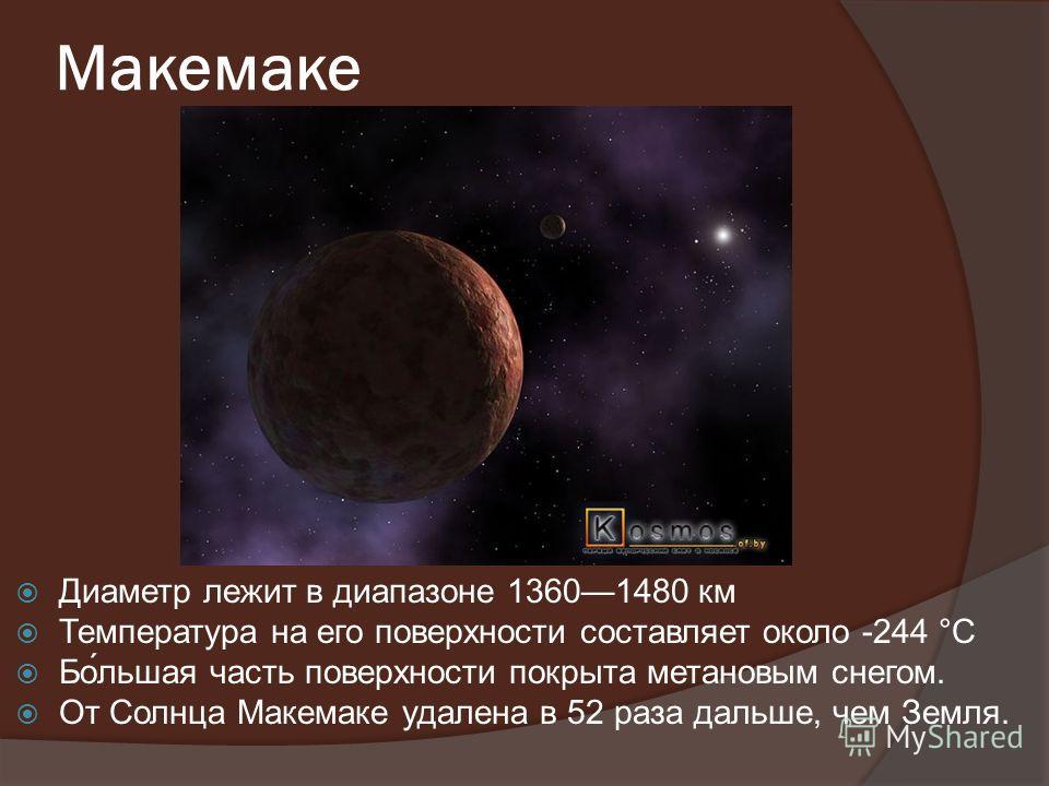 Макемаке Диаметр лежит в диапазоне 13601480 км Температура на его поверхности составляет около -244 °C Бо́льшая часть поверхности покрыта метановым снегом. От Солнца Макемаке удалена в 52 раза дальше, чем Земля.