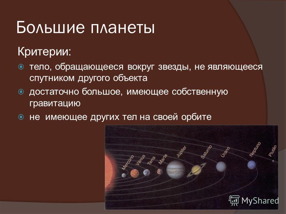 Большие планеты Критерии: тело, обращающееся вокруг звезды, не являющееся спутником другого объекта достаточно большое, имеющее собственную гравитацию не имеющее других тел на своей орбите