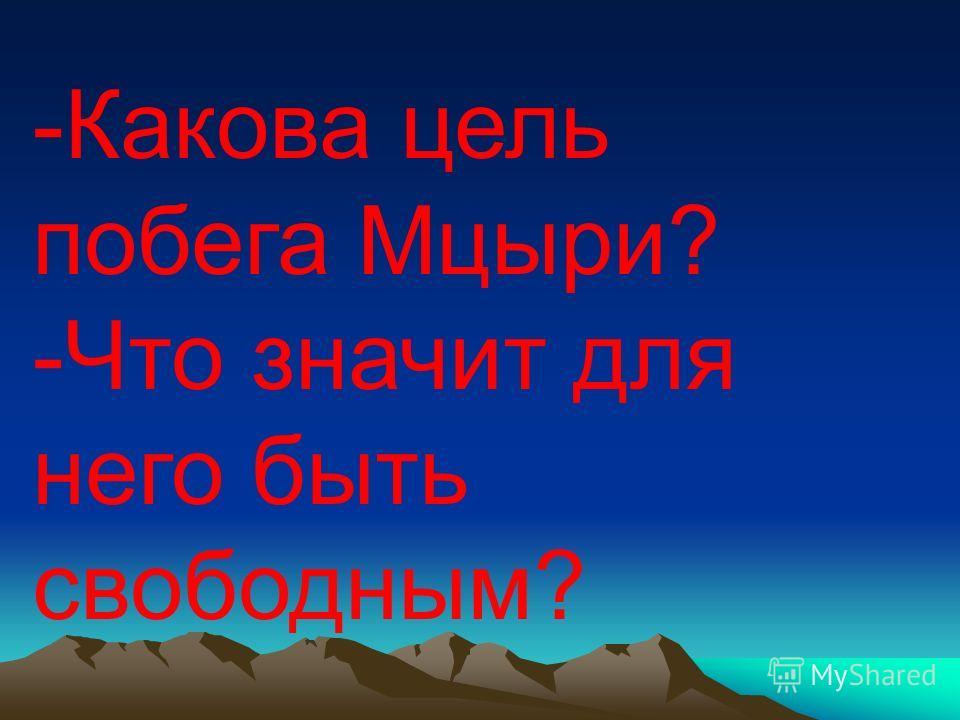 -Какова цель побега Мцыри? -Что значит для него быть свободным?