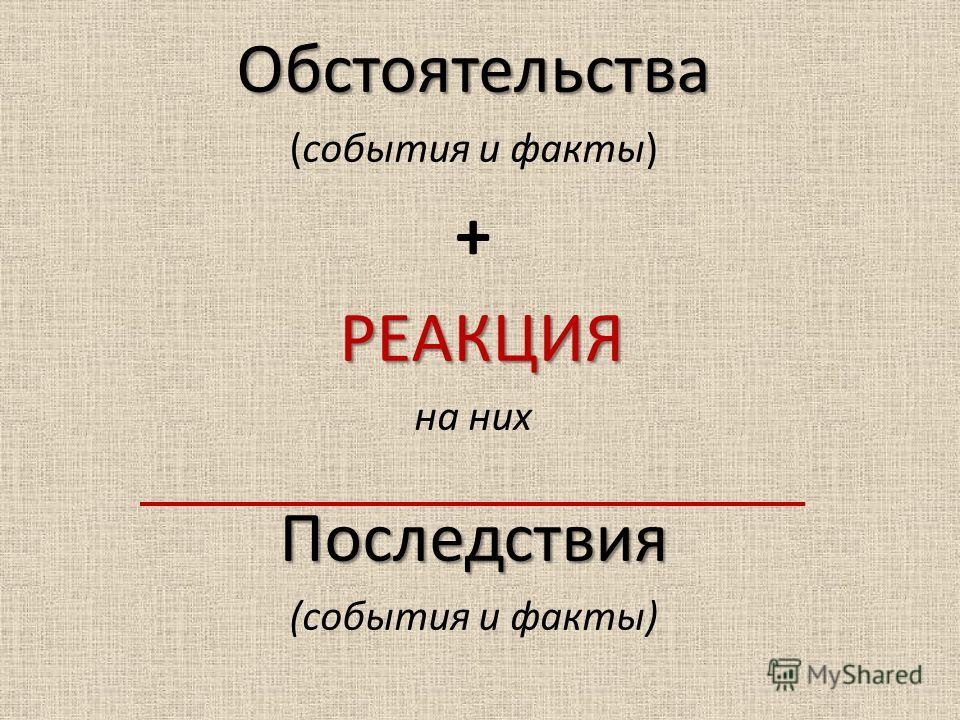 Обстоятельства (события и факты) + РЕАКЦИЯ на них Последствия (события и факты)