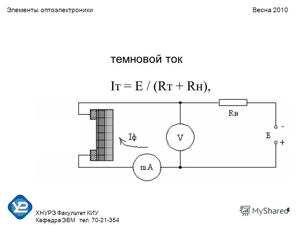 4 ХНУРЭ Факультет КИУ Кафедра ЭВМ тел. 70-21-354 Элементы оптоэлектроники Весна 2010 темновой ток Iт = E / (Rт + Rн),