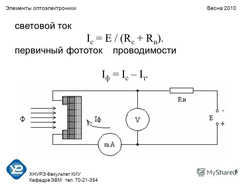 5 ХНУРЭ Факультет КИУ Кафедра ЭВМ тел. 70-21-354 Элементы оптоэлектроники Весна 2010 световой ток I с = E / (R с + R н ). первичный фототок проводимости I ф = I с – I т.