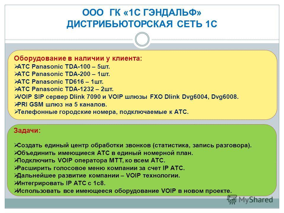 Оборудование в наличии у клиента: АТС Panasonic TDA-100 – 5 шт. АТС Panasonic TDA-200 – 1 шт. АТС Panasonic TD616 – 1 шт. АТС Panasonic TDA-1232 – 2 шт. VOIP SIP сервер Dlink 7090 и VOIP шлюзы FXO Dlink Dvg6004, Dvg6008. PRI GSM шлюз на 5 каналов. Те