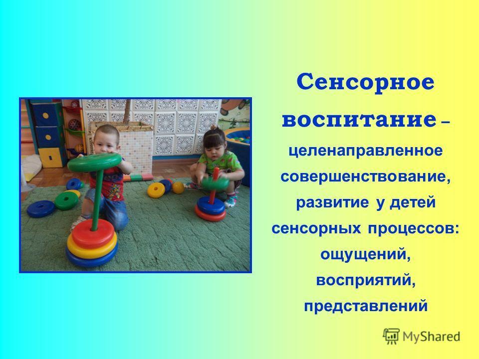 Сенсорное воспитание – целенаправленное совершенствование, развитие у детей сенсорных процессов: ощущений, восприятий, представлений