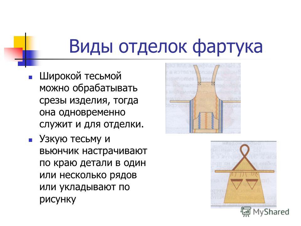 Виды отделок фартука Тесьма и вьюнчик. Тесьма и вьюнчик. Тесьма бывает разной ширины, одноцветная или с рисунком.
