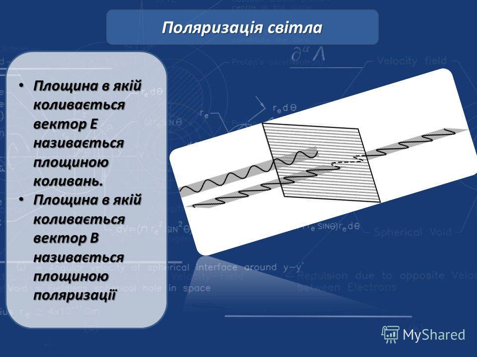 Площина в якій коливається вектор Е називається площиною колывань. Площина в якій коливається вектор Е називається площиною колывань. Площина в якій коливається вектор В називається площиною поляризації Площина в якій коливається вектор В називається