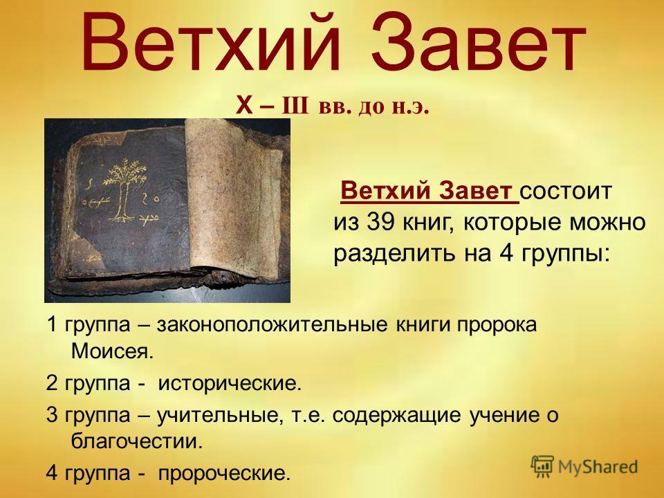 Ветхий Завет Х – III вв. до н.э. 1 группа – закон о положительные книги пророка Моисея. 2 группа - исторические. 3 группа – учительные, т.е. содержащие учение о благочестии. 4 группа - пророческие. Ветхий Завет состоит из 39 книг, которые можно разде