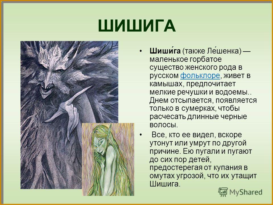 ШИШИГА Шиши́га (также Ле́щенка) маленькое горбатое существо женского рода в русском фольклоре, живет в камышах, предпочитает мелкие речушки и водоемы.. Днем отсыпается, появляется только в сумерках, чтобы расчесать длинные черные волосы.фольклоре Все