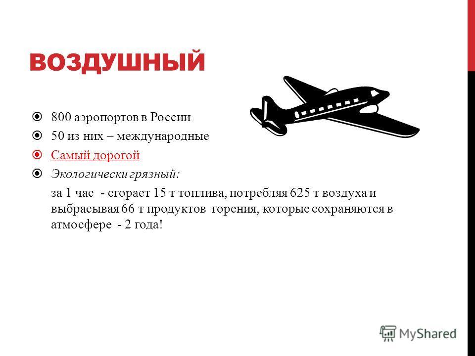 ВОЗДУШНЫЙ 800 аэропортов в России 50 из них – международные Самый дорогой Экологически грязный: за 1 час - сгорает 15 т топлива, потребляя 625 т воздуха и выбрасывая 66 т продуктов горения, которые сохраняются в атмосфере - 2 года!