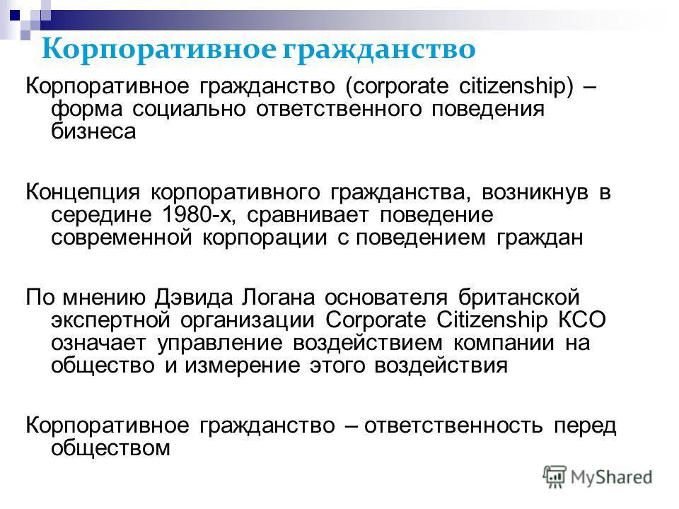 Корпоративное гражданство Корпоративное гражданство (corporate citizenship) – форма социально ответственного поведения бизнеса Концепция корпоративного гражданства, возникнув в середине 1980-х, сравнивает поведение современной корпорации с поведением